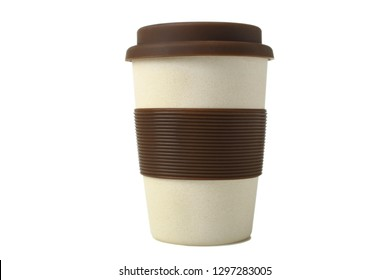 One beige plastic disposable cup with silicone isolated on white.