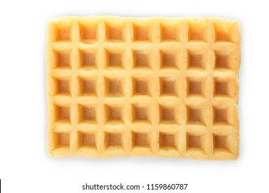 One Belgian waffle isolated on white. Top view.