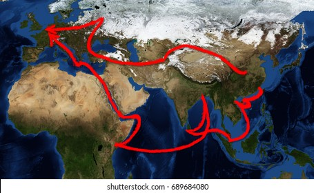 One belt one road route map, The map image furnished by NASA