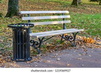one bench and tank for garbage closeup in the autumn park