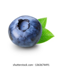 One berry of blueberry with leaves isolated on white background