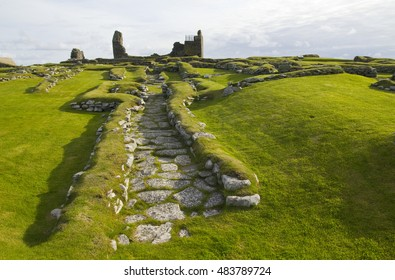 One of the best examples of an Iron Age house built upon a Bronze Age one at the Jarlshof site near Sumburgh Head in the Shetland Islands of Scotland UK