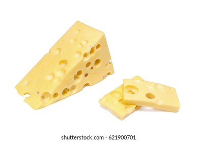 One big and few small pieces of cheese on white background
