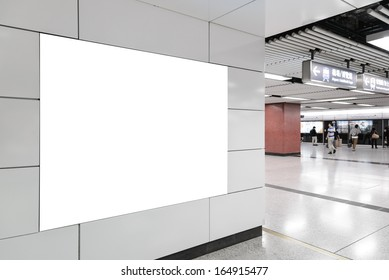 One big horizontal/ landscape orientation blank billboard on modern white wall with platform background