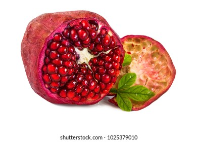 one big opened red with a pomegranate fruit grains on a white background