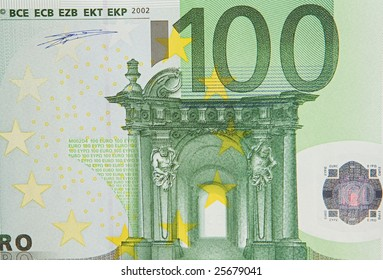 One bill of one hundred of euros a over white background