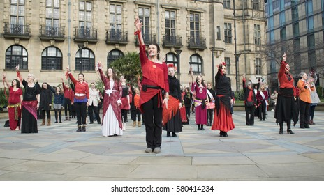 One Billion Rising Flash Mob Dance In Sheffield Peace Gardens Held On Tue 14th Feb 2017 At 1pm To help Raise Awareness About Violence Against Women.