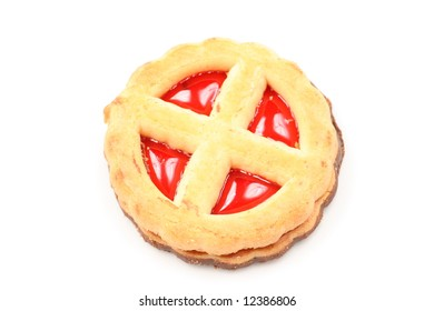 One biscuit with jam on white background