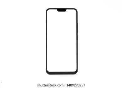 One black big screen blank smartphone isolated on white background