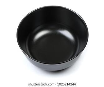 One black bowl isolated on white
