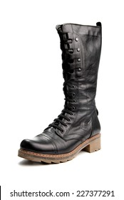 One black high boot isolated on white