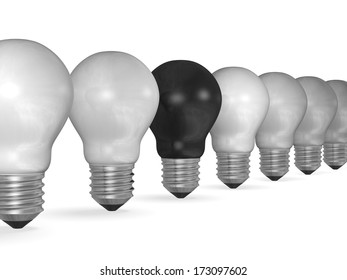 One black light bulb in row of many white ones isolated on white background