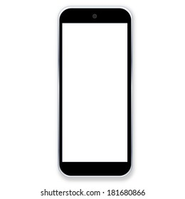 One black smartphone with blank screen in white background