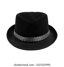 one black  trilby hat, full face, on white background; isolated