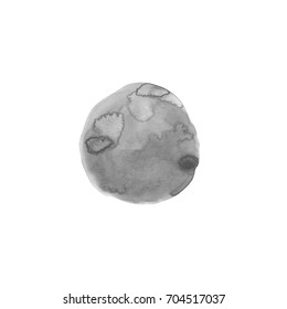 One black and white round spot. Watercolor painting. Abstract background, painted composition. Hand drawn grey dot illustration. Space, planet, moon. Monochrome pattern.