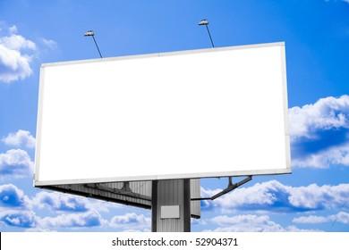 one blank horizontal billboard over blue sky