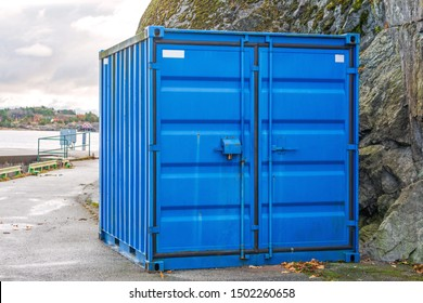 One Blue Cargo Container at Coast in Sweden