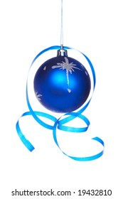 One blue Christmas ball with a ribbon isolated on white background. Shallow depth of field