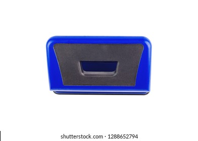 One blue metallic hole puncher isolated on white background. Top view. Clipping path - image