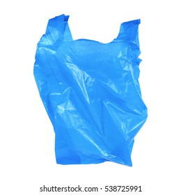 it is one blue recycled plastic bag isolated on white.