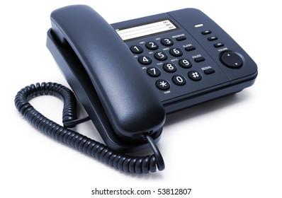 One blue telephone isolated on white background
