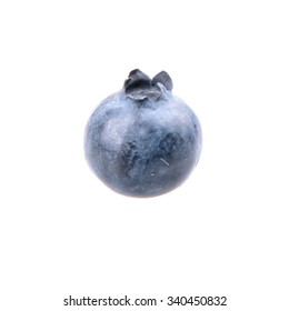 One blueberry isolated on white background