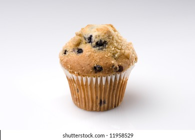 One Blueberry Muffin on White Background