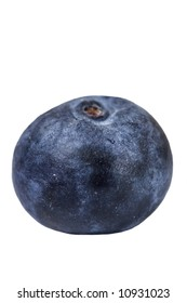 One blueberry with a shallow depth of field