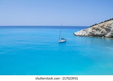one boat  in lefkada island - greece