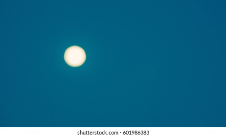 One Bokeh from the moon and Blue sky at night