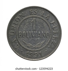 One Boliviano Coin isolated on white