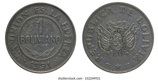 One Boliviano Coin isolated on white, both sides