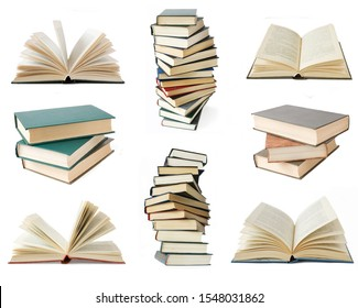one book and books stack set isolated, books pile with antique books collection, closeup