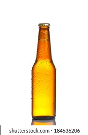 one bottle of fresh beer with drops, isolated on white background