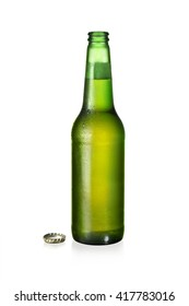 one bottle of fresh beer isolated on white background with cut path