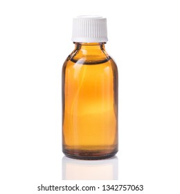 One bottle with liquid medicine isolated on a white background