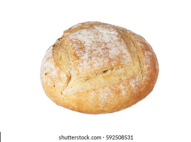 One boule shaped sourdoug bread isolated on white.