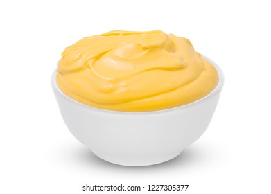One Bowl with tasty cheese sauce on white background