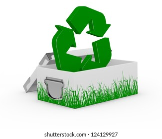 one box with grass drawn on the sides and a recycling symbol on it (3d render)