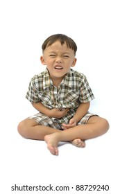 One boy with facial expression on white background.