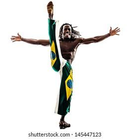 one brazilian  black man dancer dancing capoiera on white background