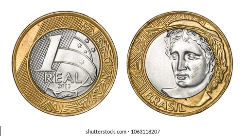 One brazilian real coin, front and back faces isolated on white background with clipping path