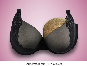 One breast cancer concept half empty bra after amputation surgery pink ribbon background