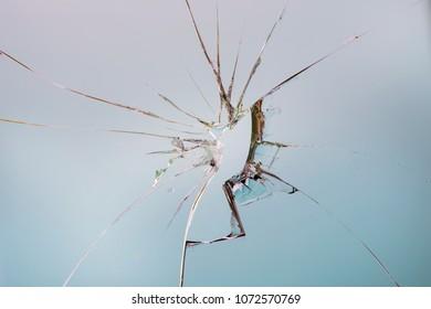 one broken glass, detail