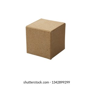 One brown cardboard cube isolated on white background with clipping path