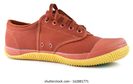one brown men sneaker isolated on white background