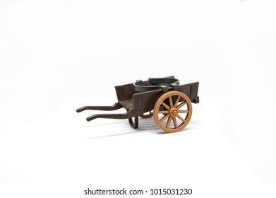 One brown toy miniature cart with white background