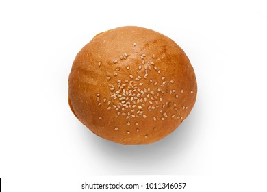 One bun with sesame seeds on a white background