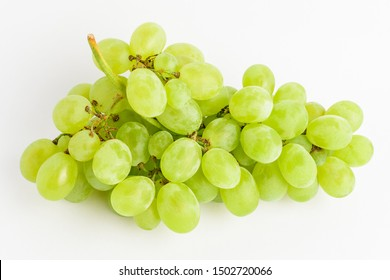 One bunch of ripe organic white grapes isolated on white background, top view