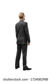 one businessman standing fully upright turned a back on white background, isolated